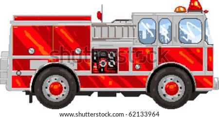 Pixel art Vector illustration of Firetruck. Artwork is composed of editable vector squares. Artwork is clearly and crisply readable in both large and tiny sizes. - stock vector