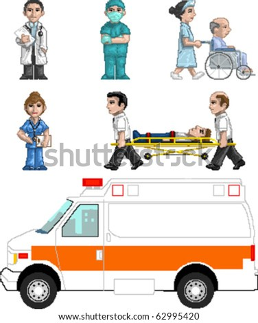 Pixel art Vector illustration set of medics. Artwork is composed of editable vector squares. Artwork is clearly and crisply readable in both large and tiny sizes. - stock vector