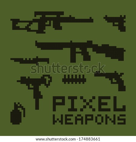Pixel art weapons isolated vector set