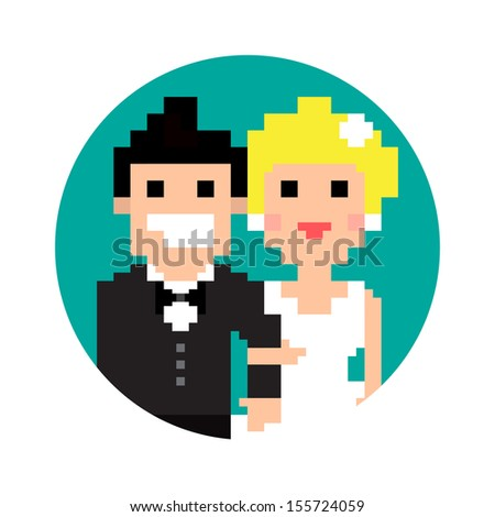 Pixel art wedding couple in circle isolated on white background, vector illustration
