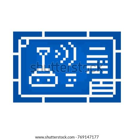 Pixel blueprint games websites stock vector 2018 769147177 pixel blueprint for games and websites malvernweather Images