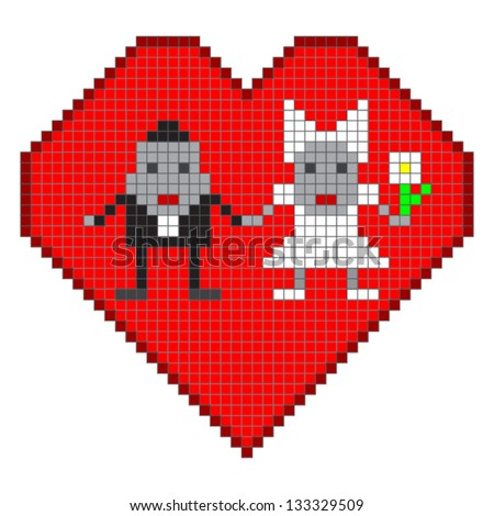 Pixel bride and groom .cute wedding card with robot.vector illustration - stock vector
