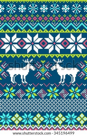 Pixel bright seamless pattern with stylized winter nordic ornament. Vector illustration. - stock vector