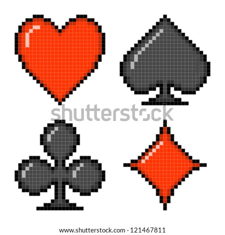 Pixel Card Suits - stock vector