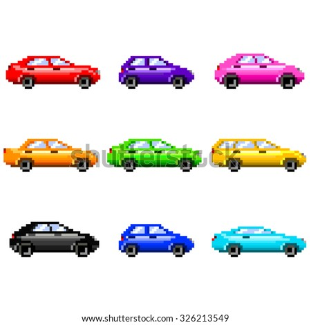 Pixel cars for games icons high detailed vector set - stock vector