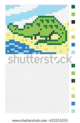 pixel cartoon crocodile in the coloring page with numbered squares vector illustration