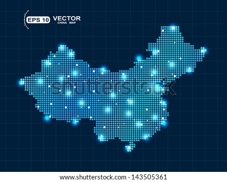 Pixel China map with lights effect presentation - stock vector