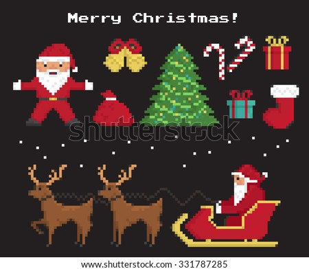 Pixel christmas symbols set of Santa Claus, christmas tree, red sock with gifts and sweets, two 8-bit reindeers with Santa's sleigh