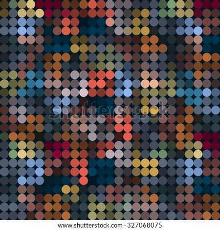 Pixel circles mosaic seamless pattern. Vector background - stock vector