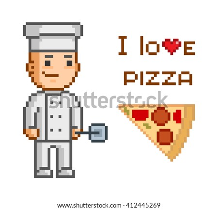 Pixel concept for pizzeria. I love pizza. Smiling cook and slice of pizza. - stock vector