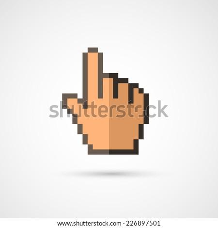 Pixel cursor icon - Cursor hand.Vector Illustration. - stock vector