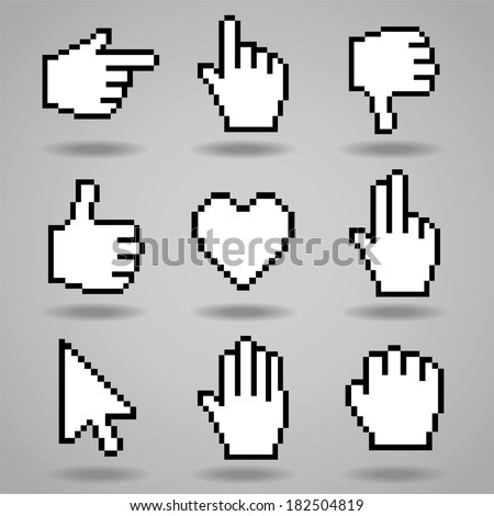 Pixel cursors icons: hand, arrow and heart. Vector illustration. - stock vector