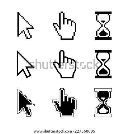 Pixel cursors icons - mouse cursor hand pointer hourglass. Vector illustration. - stock vector