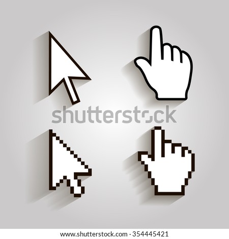 Pixel cursors icons mouse hand arrow.  Vector Illstration - stock vector