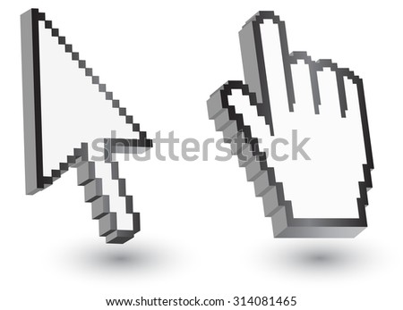 Pixel cursors icons: mouse hand arrow Vector Illustrations. - stock vector