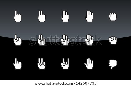 Pixel cursors icons, mouse hands on black background. Vector illustration. - stock vector