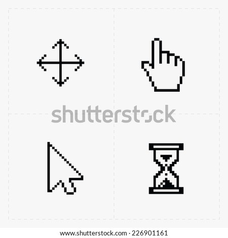 Pixel cursors icons on white.Vector Illustration. - stock vector