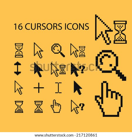 pixel cursors icons, signs, illustrations, silhouettes set, vector - stock vector