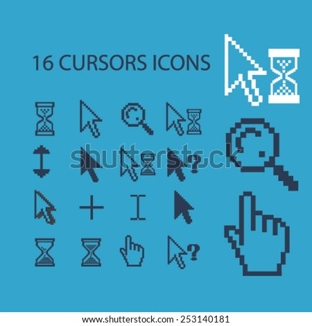 pixel cursors, inerface icons, signs, illustrations set, vector - stock vector
