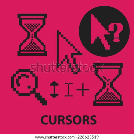 pixel cursors, interface black isolated icons, signs, symbols, illustrations set, vector - stock vector