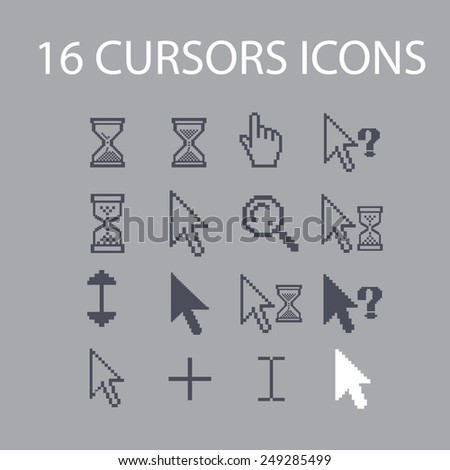 pixel cursors, select, search, question, interface icons, signs, illustrations set, vector - stock vector