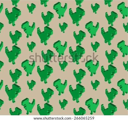 Pixel Dinosaur - stock vector