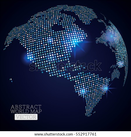 Pixel dot world map glowing locations stock vector 552917761 pixel dot world map with glowing locations global technology concept gumiabroncs Choice Image