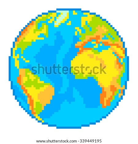 Pixel Earth globe high detailed isolated vector - stock vector