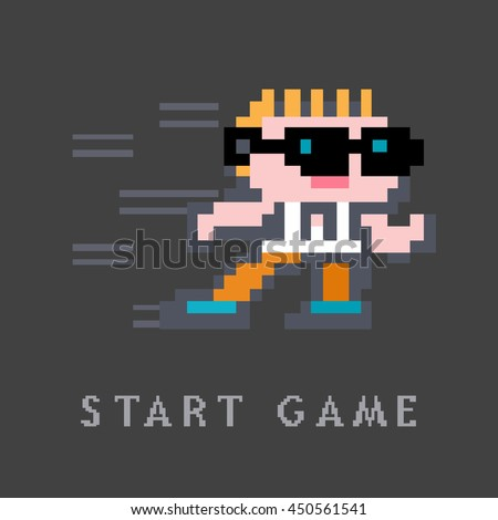 Pixel energetic character in sunglasses. Vector illustration in the style of old-school pixel art.