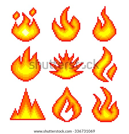 Pixel fire for games icons high detailed vector set - stock vector