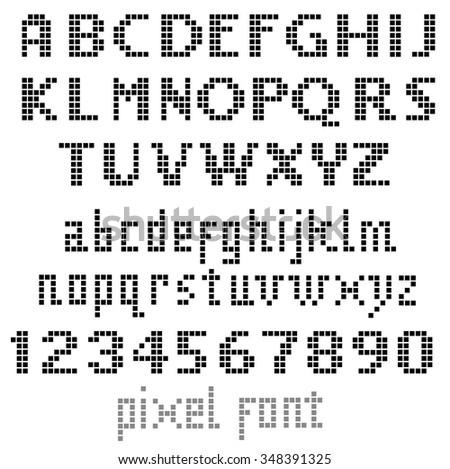 Pixel font, set of letters - stock vector