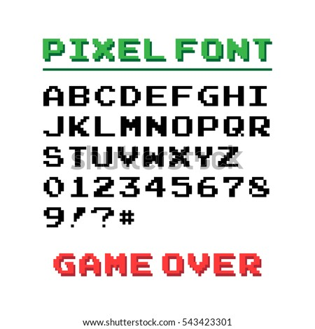 Pixel Font 39 Symbols Text Game Stock Vector 543423301 Shutterstock