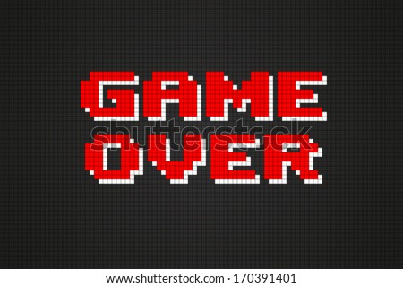 Pixel Game Over Computer Game Screen - stock vector