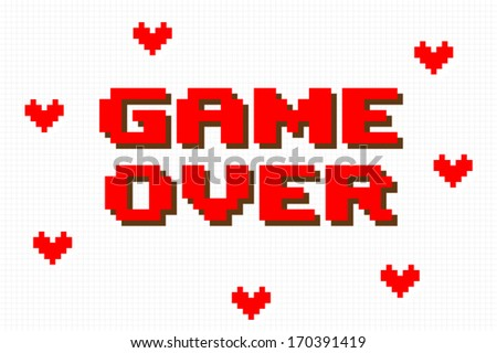 Pixel Game Over Computer Game Screen on white background - stock vector
