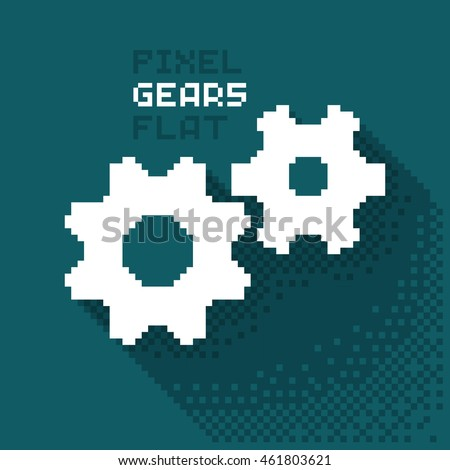 Pixel gears, cogwheels in a flat design, pixelated illustration. - Stock vector