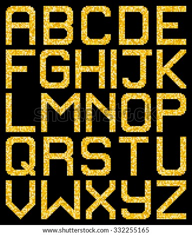 Pixel Gold Glitter A-Z Letters. EPS8 Vector - stock vector
