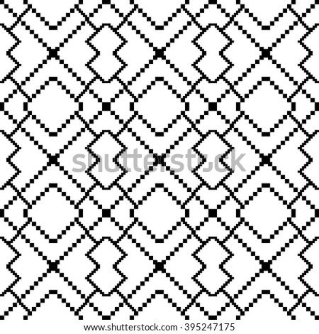 Pixel graphics. Black and white image. Intersecting geometric patterns. Vector. For web design, design presentations, textile and light industry