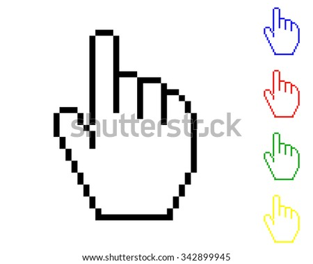 pixel hand cursor icon - colored vector set