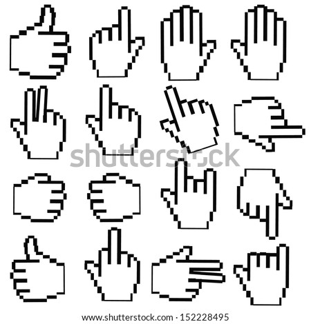 Pixel Hand cursor on White background,vector