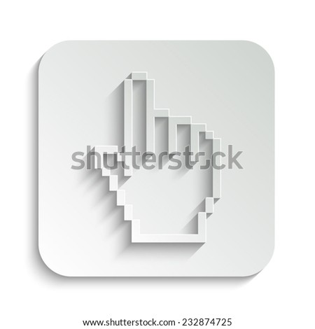 pixel hand - vector icon with shadow on a grey button - stock vector