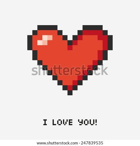 pixel heart. Concept illustration - stock vector