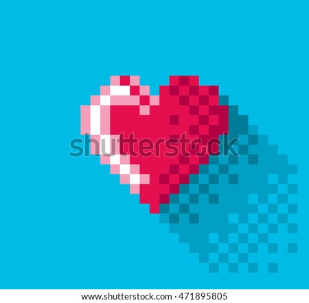 Pixel Heart in flat design, pixel art illustration. - Editable vector