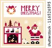 Pixel Holidays Card Christmas living room with Santa background - stock vector