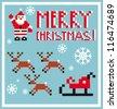 Pixel Holidays Santa's reindeer, sledge icons set theme in pixel art style, vector illustration - stock vector