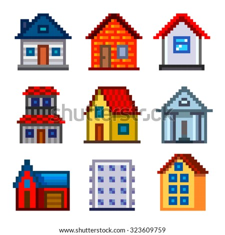 Pixel houses for games icons high detailed vector set - stock vector