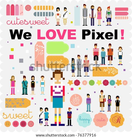 pixel human scrapbook and stickers tags - stock vector