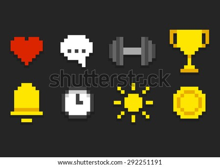 Pixel icons for app, web or video game interface. Health and activity, alarm and notification and more. - stock vector