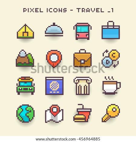 Pixel icons-travel 1 - stock vector