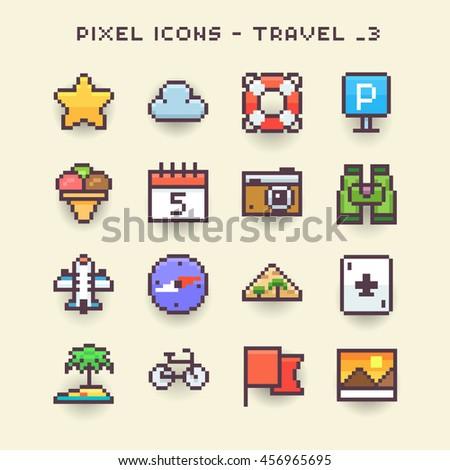 Pixel icons-travel 3 - stock vector