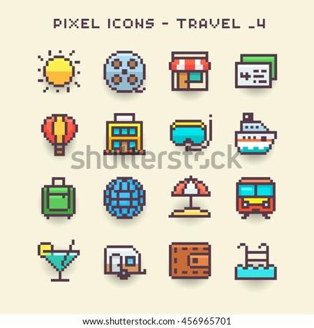Pixel icons-travel 4 - stock vector